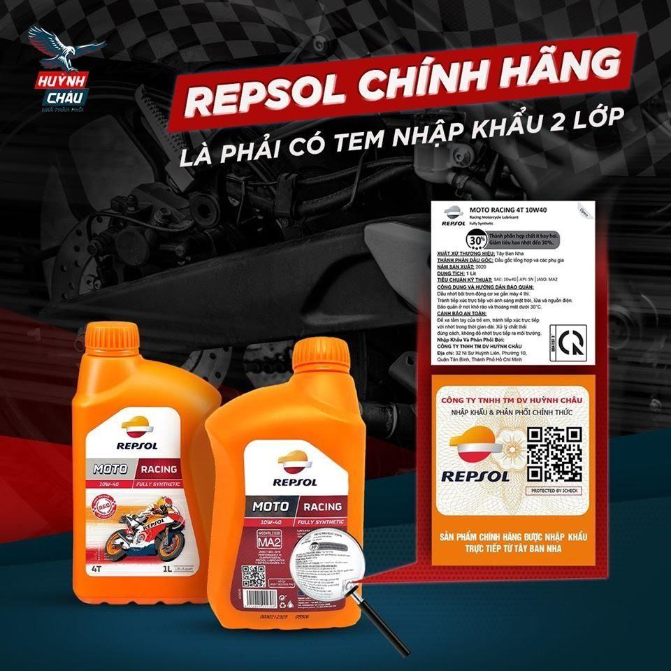 Các sản phẩm Repsol chính hãng do Huỳnh Châu cung cấp đều có tem chính hãng 2 lớp